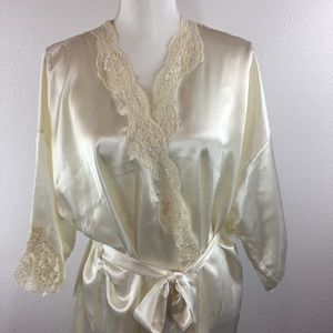 90's Victoria Secret Satin Ivory Bridal Robe